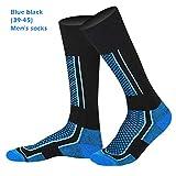 Urhomy Calcetines de esquí extra cálidos hasta la rodilla para niños, hombres y mujeres, Bebé-Niños, color azul y negro, tamaño M años
