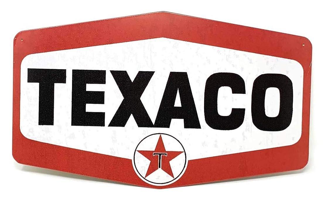 驚いたチューリップビジュアルTexaco Gas Station Sign、Nostalgic Lookingサービスオイル駅レトロメタルサイン新しい
