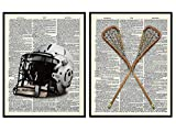Lacrosse Wall Decor, Lacrosse Poster, Lacrosse Decorations - 8x10 Dictionary Wall Art Photo for Boys Bedroom or Kids Room Decor - Gift for LAX, Sports Fan - Vintage Lacrosse Sticks, Helmet Print