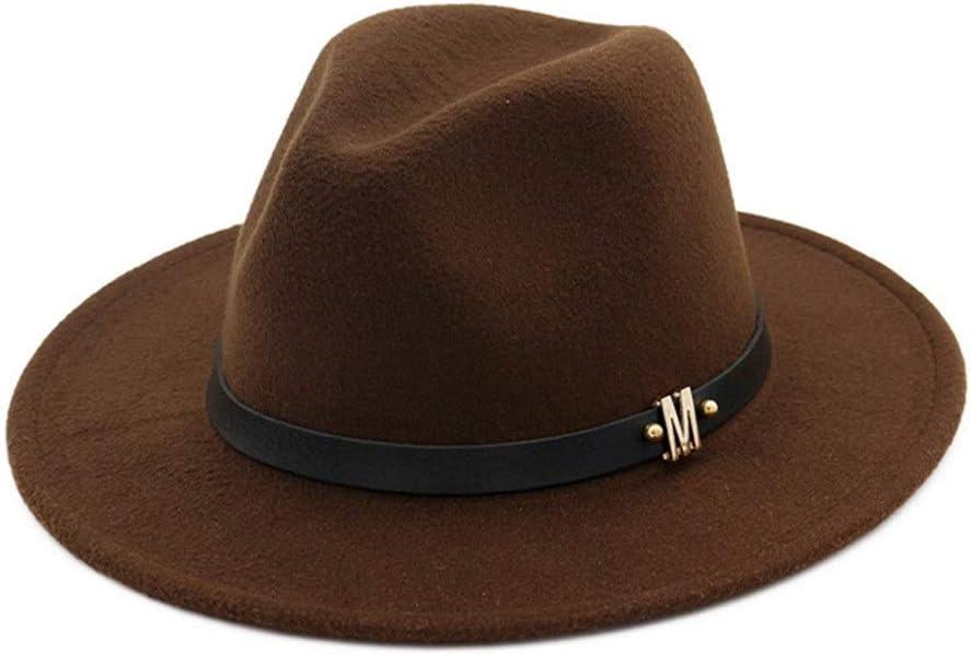 no-branded Autumn Winter Cotton Fedora Hat with Belt Letter Decoration Flat Brim Panama Hat for Men Women ZRZZUS (Color : Dark Coffee, Size : 56-58cm)