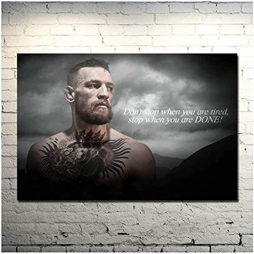 Surfilter Print auf Leinwand Conor McGregor UFC Motivational Boxing Leinwand Poster Zoll Bild für Wohnzimmer Dekor 23.6& rdquo; x 35.4& rdquo; (60x90cm) Kein Rahmen