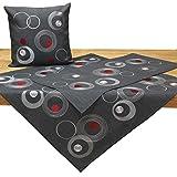 Quinnyshop, tovaglia Moderna con Ricamo Circolare, in Poliestere, Colore Grigio, Poliestere, Grey, 43 x 43 Inches