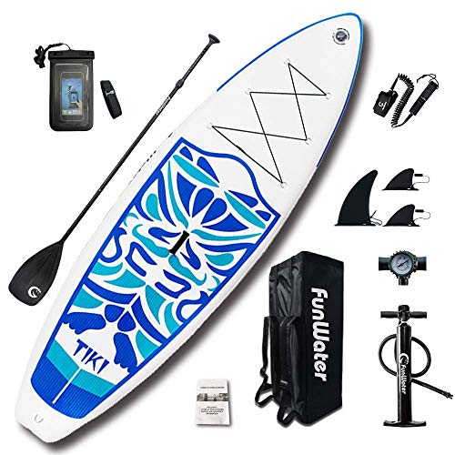 FunWater Inflatable 10ft 6×33in×6in, 17.6lbs SUP for All Skill Levels Includes Adj Paddle, Pump, ISUP Travel Backpack, Leash, Repair Kit, Waterproof Bag (Renewed)