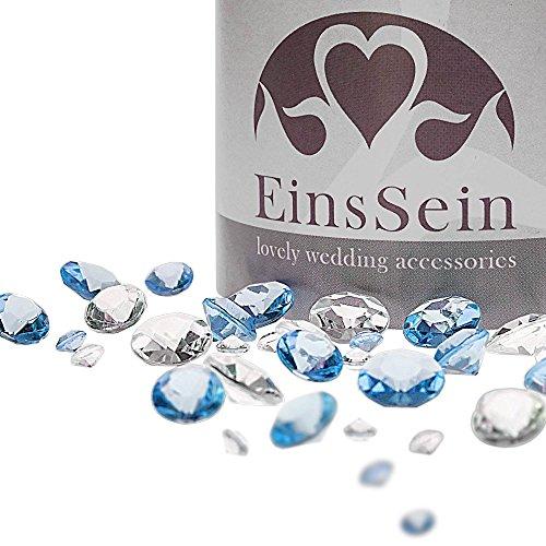 EinsSein 600x Strooi Kristallen Tafel Diamanten bruiloft Acryl Mix 12-10-5mm transparant-lichtblauw tafel diamant decoratie steentjes diamantjes clear crystal bruiloft feestje geboortefeest carnaval