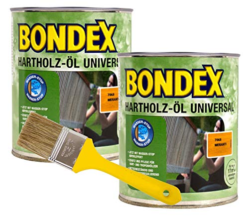 Bondex Hartholzöl Universal meranti 1,5L Hartholz Öl Holzöl Terrassenöl + Pinsel
