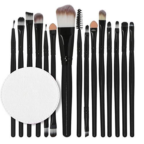 15 Make-up-Pinsel, Holzgriff Wattepad-Set von Make-up Pinsel Multifunktions-Lippenpinsel Auge Pinsel...