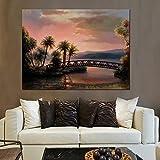 Póster con impresión HD, moderno, puesta de sol, playa, árbol de coco, paisaje marino, puente, pintura al óleo abstracta sobre lienzo, imagen de pared para sala de estar 60x80 CM (sin marco)