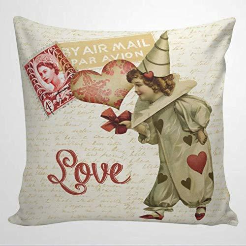 Throw Cojín Funda de cojín Fundas decorativas para cojines, funda de almohada de San Valentín, funda de cojín de estilo francés con corazón de amor vintage, rojo y granja 45 X 45 CM