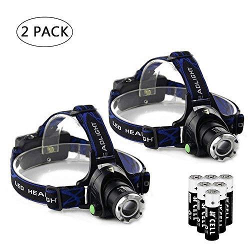 Ultra-bright XML T6 3000 Lumen 3 Mode Tactical Headlight with AAA Batteries Waterproof led Headlamp Hands-Free Light (2 Pack)
