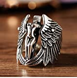Retro Thai Silver Guardian Angel Personality Cross Exaggerated Wings Ring Plated S925 Male Domineering Ring Jewelry, WOZUIMEI, Angel Wings, 8