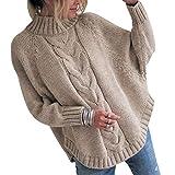 Jersey Punto Cuello Alto Mujer Oversize Sueter Mujer Suéter Jerséis Jerseys Grueso Mujeres Sueteres Jerseis Señora Manga Larga Invierno Largo Suéteres Pullover Sweater Holgado Tallas Grandes Caqui S