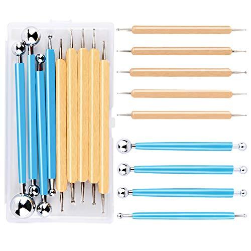 Riddur 9 Stücke Punktierung Werkzeug Set, Punktierung Set, Punktierung Stifte Set mit Polymer Clay Werkzeug, Aufbewahrungsbox, Punktierung Tools, Nagel Art Stifte für DIY Rock Malerei Nagel Design