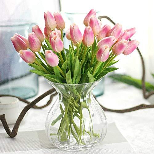 Unechte Blumen,Künstliche Deko Blumen Gefälschte Blumen Blumenstrauß Seide Tulpe Wirkliches Berührungsgefühlen, Braut Hochzeitsblumenstrauß für Haus Garten Party Blumenschmuck 10 Stück (Dunkelrosa)