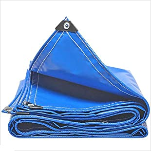 LIANGJUN Tarpaulin Waterproof Heavy Duty PVC Insulated Sunshade Edge,500 G/㎡,Thickness 0.45mm,blue (Color  #, Size  1.8X2.8m)