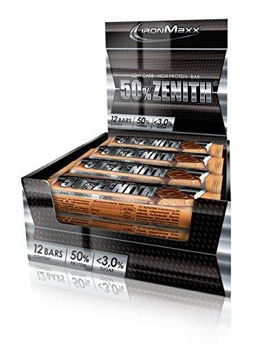 IronMaxx Zenith Riegel – Low Carb Eiweißriegel mit 50% Eiweiß, minimalen 3% Kohlenhydraten und nur 1,5g Zucker pro Riegel – Gewichtsreduzierung, Kraft- und Muskelaufbau – 12x100g – Erdnuss