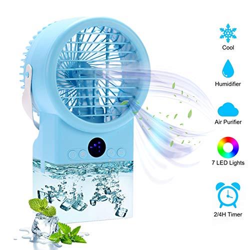 Lüfter USB-Tischlüfter Mobile Klimaanlage Multifunktions Air Cooler, tragbar Desktop Moving Air Conditioner Lüfter mit Timer leise für Home Office Schlafzimmer (Light Blue)