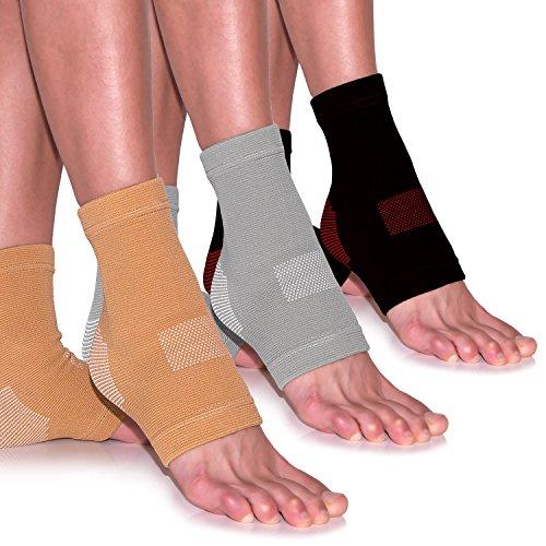EVOLUXO 1 Paar Fußgelenk-Bandagen Fussbandagen zur Schmerzlinderung Kompressionssocken Sportbandage Beige