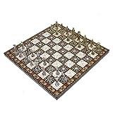 AJULING Juego de ajedrez de madera juego de tablero de ajedrez creativo de aleación de zinc pintura piezas de ajedrez con ranuras de almacenamiento artesanía regalo adornos juego de mesa