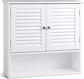 TANGKULA Wall Cabinet, Hanging Bathroom Medicine Cabinet with Double Shutter Doors and Adjustable Shelf, 26 x 8.5 x 25 Inches, White