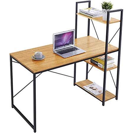 AZ L1 Life Concept Tower Computer Desk with 4 Tier Shelves - 47.6'' Multi Level Writing Study Table with Bookshelves Modern Steel Frame Wood Desk Compact Home Office Workstation (Walnut)