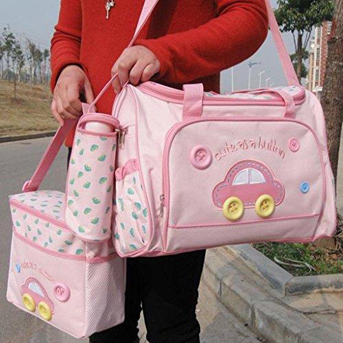 perfeclan 4pcs Mère Sac à Dos Bébé Sacs Sac à Main Avec Multifonctionnel étanche Maternity Nappy Bag Pour Maman Papa Hommes Femmes, 2 Couleurs Pour Choisir - Rose
