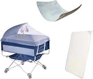 ZXCVB Travel Crib Cots Baby Nest Pod Bassinet Multifunctional Crib Travel Cots for Baby Game Bed Portable Folding with Mattress Colors-Blue