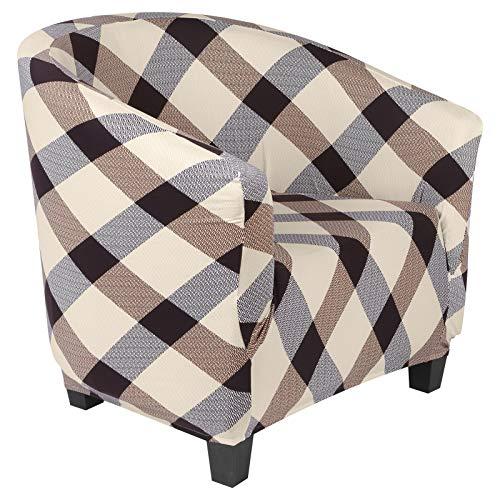 Dihope Chesterfield-Sesselbezug, bedruckt, Club-Sessel, elastisch, waschbar, rutschfest, 1 Stück, abnehmbar, Tub Chair mit modernem Muster (A-Plaid)