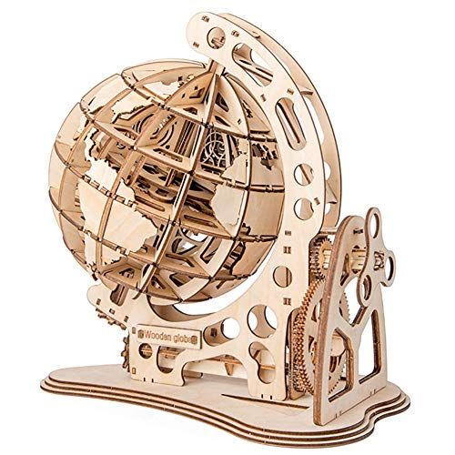 yofit 3D Wooden Globe Puzzle, Self Assembling Mechanical Drive, DIY Brain Teaser Puzzles