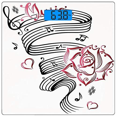 Digitale Präzisionswaage für das Körpergewicht Platz Dekor Ultra dünne ausgeglichenes Glas-Badezimmerwaage-genaue Gewichts-Maße,Bleistiftzeichnung Romantisches Sanduhr-Symbol der ewigen Liebe mit Rose