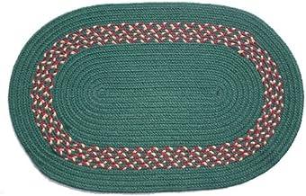 product image for Oval Braided Rug (2'x3'): Dark Green - Dark Green, Burgundy & Camel Band