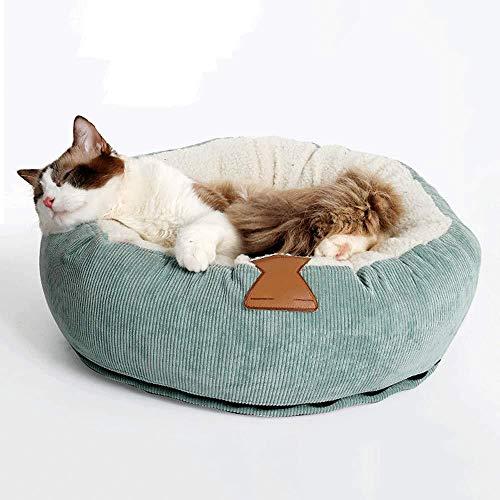 YYANG Cama DE Pet - Invierno Extraíble Y Lavable Pana De Algodón Grueso Cama Redonda para Gatos para Gatos Y Perros Pequeños,Green