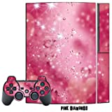 Mightyskins Protective Skin Decal Cover Sticker Compatible with Playstation 3 Console + Two PS3 Controllers - Pink Diamonds