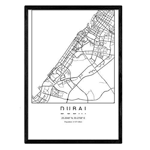Nacnic Blade Dubai Stadtkarte nordischen Stil schwarz und weiß. A3 Größe Plakat Das Bedruckte Papier Keine 250 gr. Gemälde, Drucke und Poster für Wohnzimmer und Schlafzimmer