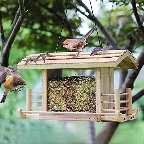 TTLIFE Comedero para Pájaros, Alimentador De Aves Casita para Pájaros Natural Resistente a La Intemperie, Hecha a Mano con Madera Natural para Colgar En El Jardín y Balcón, para Aves Silvestres
