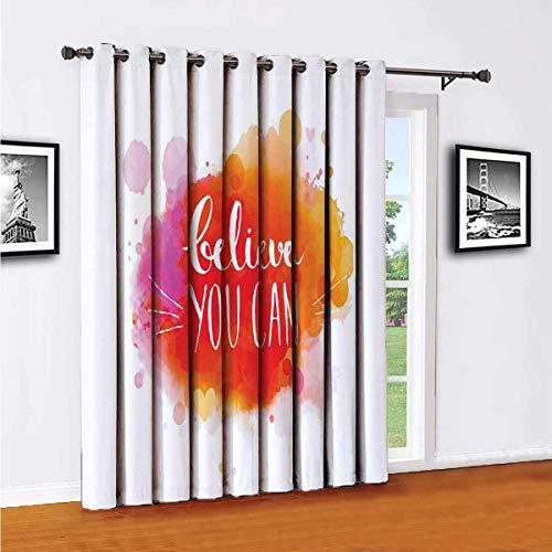 Toopeek Believe You Can Words - Cortinas opacas de poliéster, adecuadas para puertas correderas de cristal para sala de estar y cortinas térmicas (100 x 84 pulgadas)