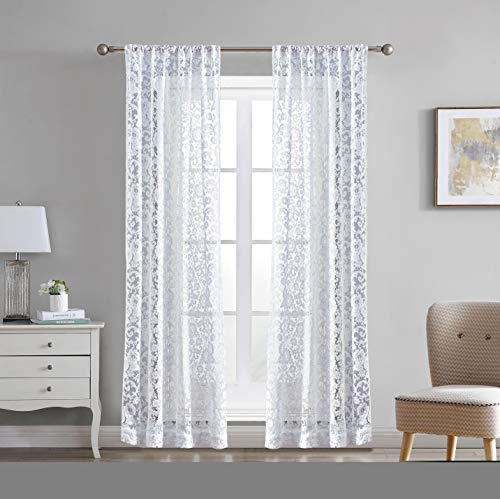 """Laura Ashley Clover Lace Sheer Window Curtains, 38"""" W x 84"""" L, White, 2 Panels"""
