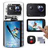 VanTop Moment 4C 4K/60FPS Action Camera with EIS, Sony Sensor, Timer, Burst, Loop Recording, Time Lapse, Wi-Fi, 30M Waterproof Underwater Camera w/Gopro Compatible Accessories, 2 Batteries