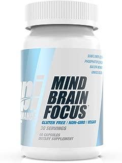 BPI Performance Mind Brain Focus – Nootropic – Focus, Memory – Sunflower Lecithin, Bacopa Monnieri, Ginkgo Biloba, Grape Seed – Gluten Free – Non-GMO – Vegan – for Men & Women – 30 Servings