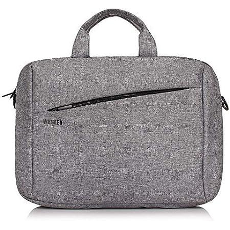 Wesley Office Laptop Bag Briefcase/Notebook/MacBook Professional Business 15.6 Inch Messenger Sling College Bag Water Resistant Laptop Bag Tablet Business Carrying Handbag for Women and Men (Grey)