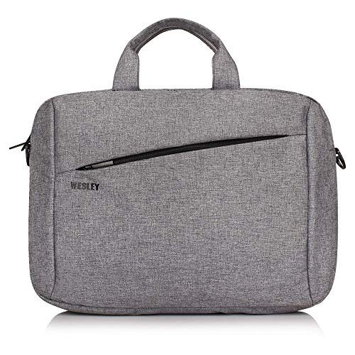 Wesley Office Laptop Bag Briefcase/Notebook/MacBook Professional Business 15.6 Inch Messenger Sling College Bag Water Resistant Laptop Bag Tablet Business Carrying Handbag for Women and Men (Grey)