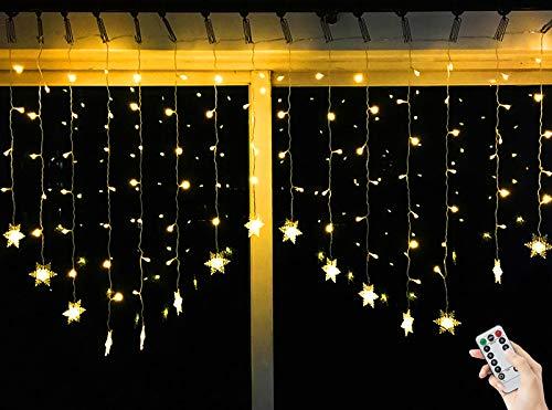 BLOOMWIN 2x1M Schneeflocken Lichtervorhang Warmweiß, USB Weihnachtesbeleuchtung 8Modi Lichterkettenvorhang 104LEDs Stimmungslichter für Balkon, Fenster, Hochzeit, Weihnachten IP44 Lichterkette