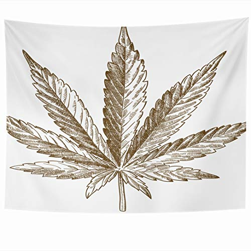 Price comparison product image Ahawoso Wall Hanging Tapestries 60x50 Inch Harvest Antique Ink Hallucinogenic Drawing Retro Engraving Flower Leaf Sketch Nature Plant Objects Tapestry Wall Blanket Home Decor Living Room Bedroom Dorm