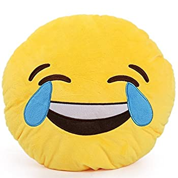 Consumer Goods Inc Emoji Pillows Emoticon Plush Yellow Round Soft Toy  Laughing Tears