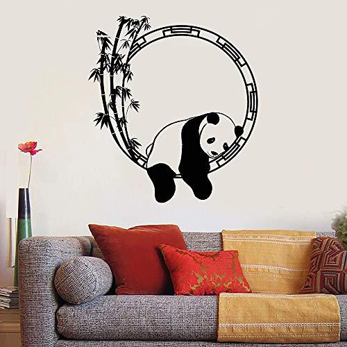Lustige niedliche schlafende Panda Bambus chinesische Tier Wandaufkleber Schlafzimmer Wohnzimmer Zoo...