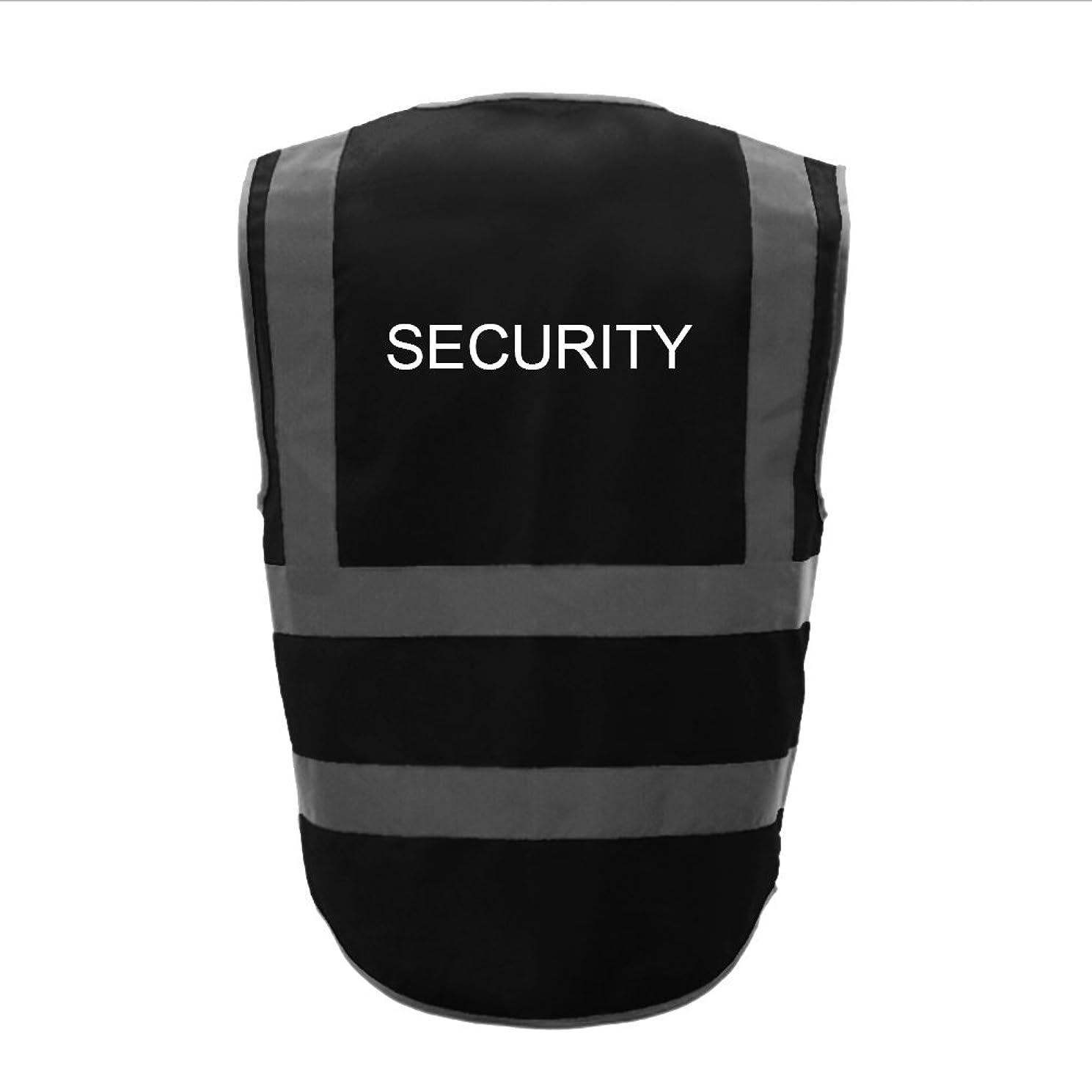盲目受ける抽象TOPTIE 50ピースセキュリティ8ポケットジッパーフロント高視認性反射安全ベスト卸売 - ブラック - M