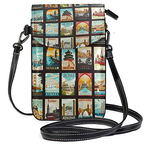 XCNGG bolso del teléfono Travel Tourist Attraction Places Of Interest Cell Phone Purse Wallet for Women Girl Small Crossbody Purse Bags
