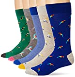 Amazon Brand - Goodthreads Men's 5-Pack Patterned Socks, Tropical Birds Pack, One Size