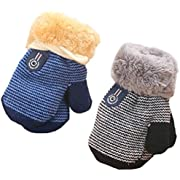 2-Pack Winter Warm Baby Gloves Full Fingers Infant Girls Boys Thicken Knit Mittens String Kids Gloves Mittens For 6 months - 3 years B-Pack