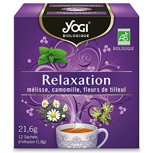 Yogi Biologique Relaxation, Infusion 100% Bio Mélisse, Camomille et Fleurs de Tilleul, 12 Sachets thermosoudés et sans agrafe, 21.6 g, 310811