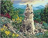 HAO Pintura de Animales de la Familia del Lobo por número Pintura sobre Lienzo con Pinturas acrílicas por número para Adultos Decoración del hogar 40x50cm Sin Marco